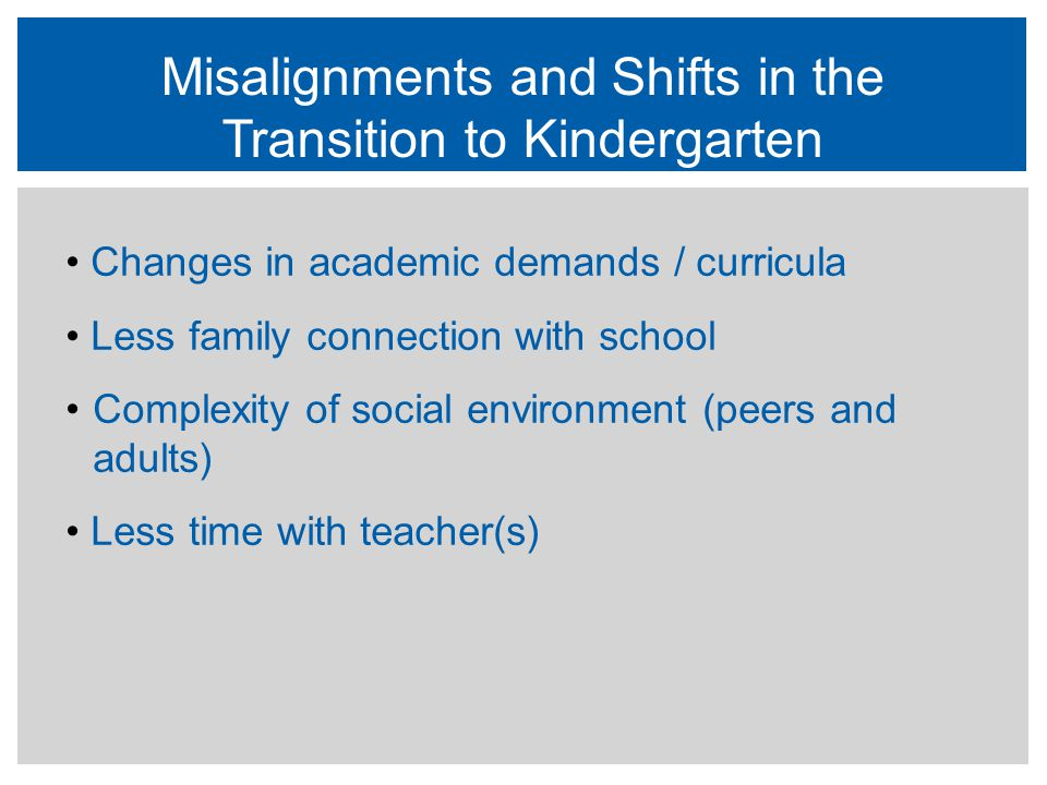 Misalignments and Shifts in the Transition to Kindergarten