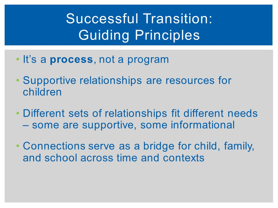 Successful Transition: Guiding Principles