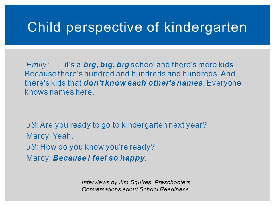 Child perspective of kindergarten