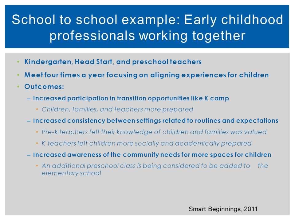 School to school example: Early childhood professionals working together
