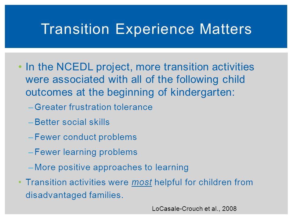 Transition Experience Matters