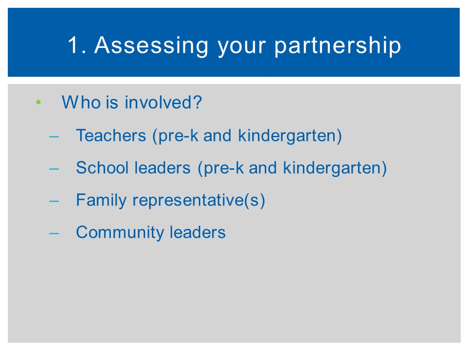 1. Assessing your partnership