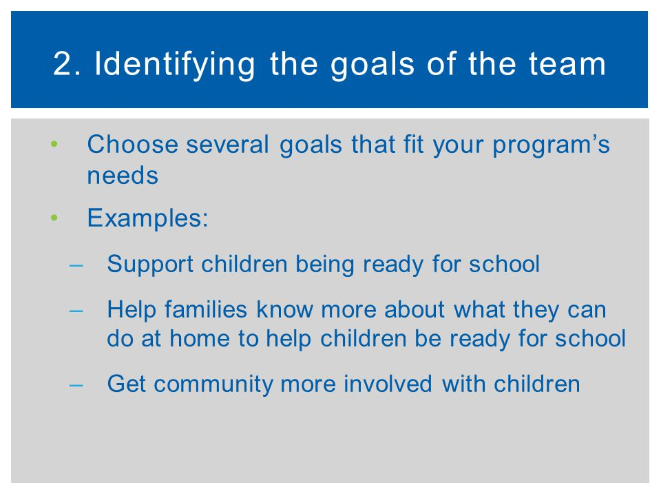 2. Identifying the goals of the team