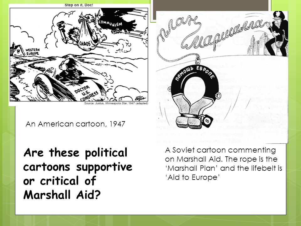 Are these political cartoons supportive or critical of Marshall Aid