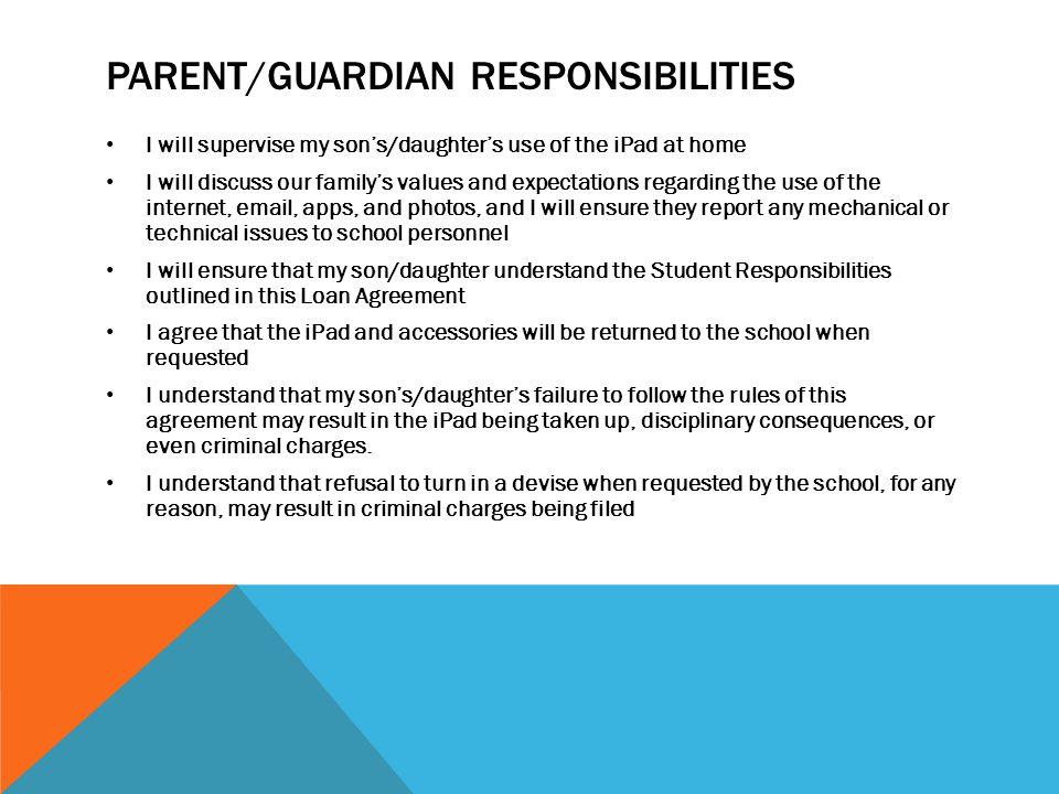 Parent/guardian responsibilities
