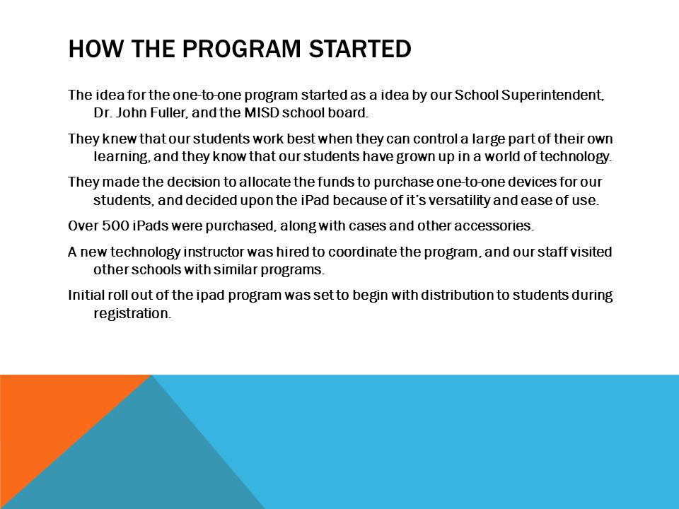 How the program started