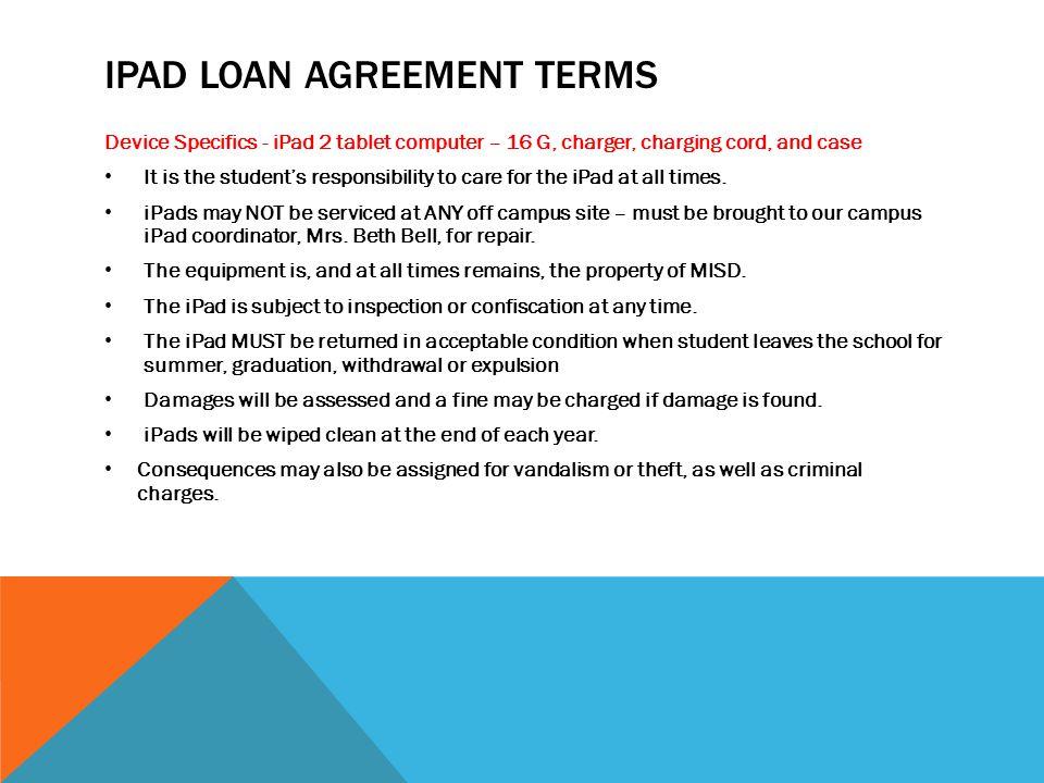 iPad loan agreement terms