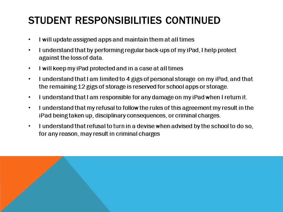 Student responsibilities continued