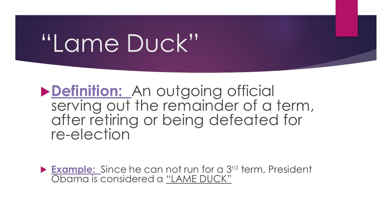 Lame Duck Definition: An outgoing official serving out the remainder of a term, after retiring or being defeated for re-election.