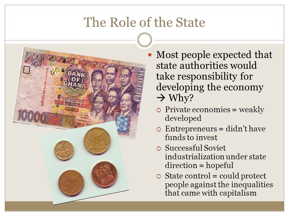 The Role of the State Most people expected that state authorities would take responsibility for developing the economy  Why