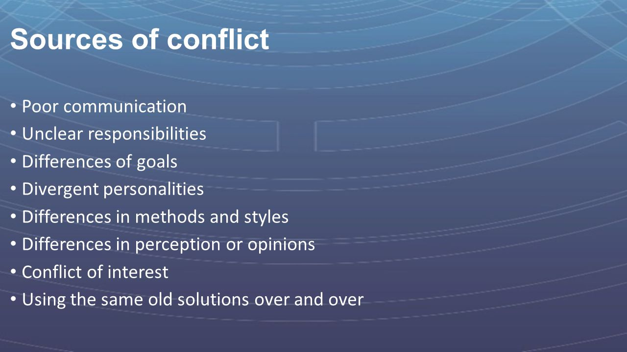 Sources of conflict Poor communication Unclear responsibilities