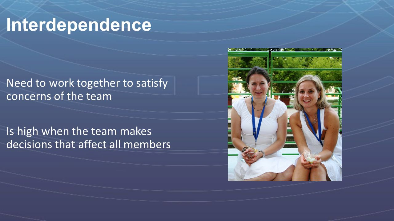Interdependence Need to work together to satisfy concerns of the team Is high when the team makes decisions that affect all members