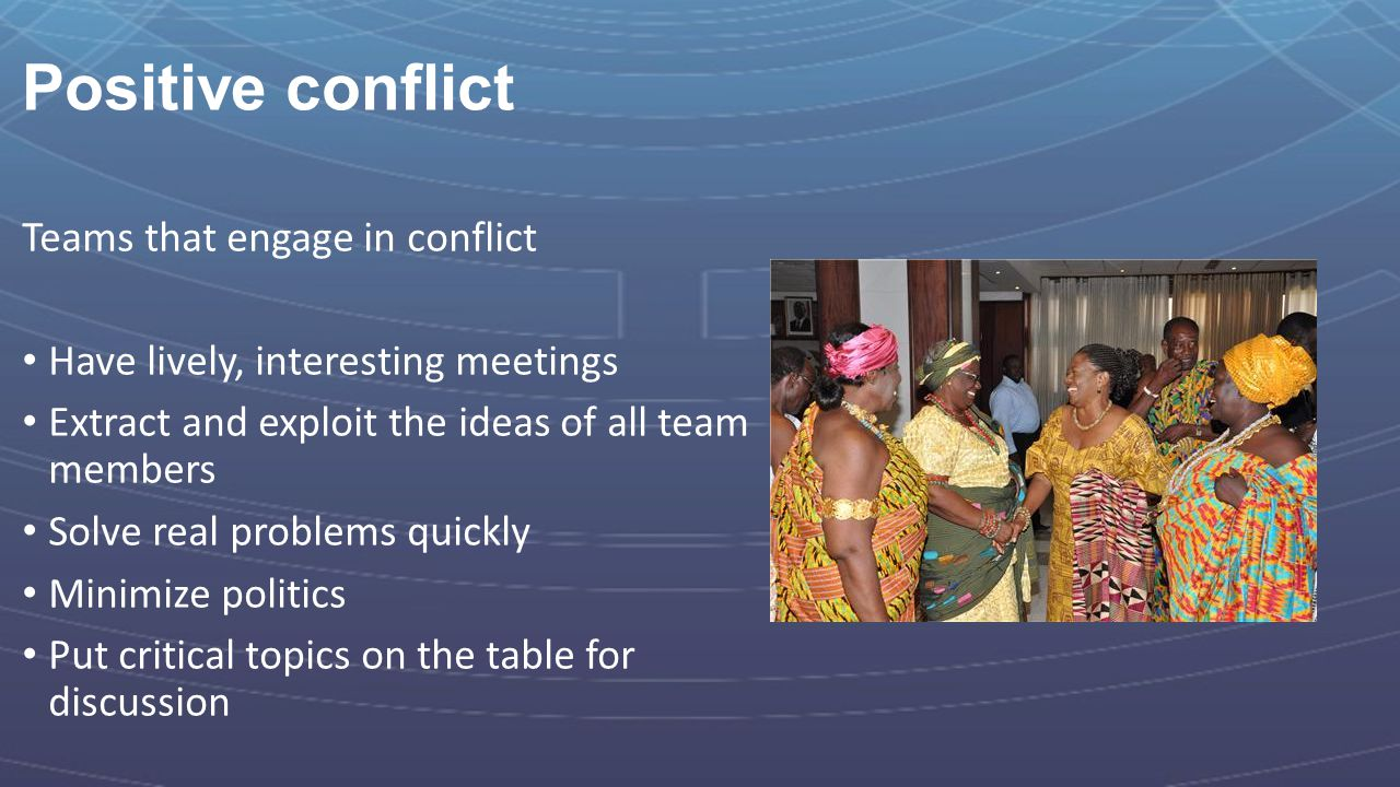 Positive conflict Teams that engage in conflict