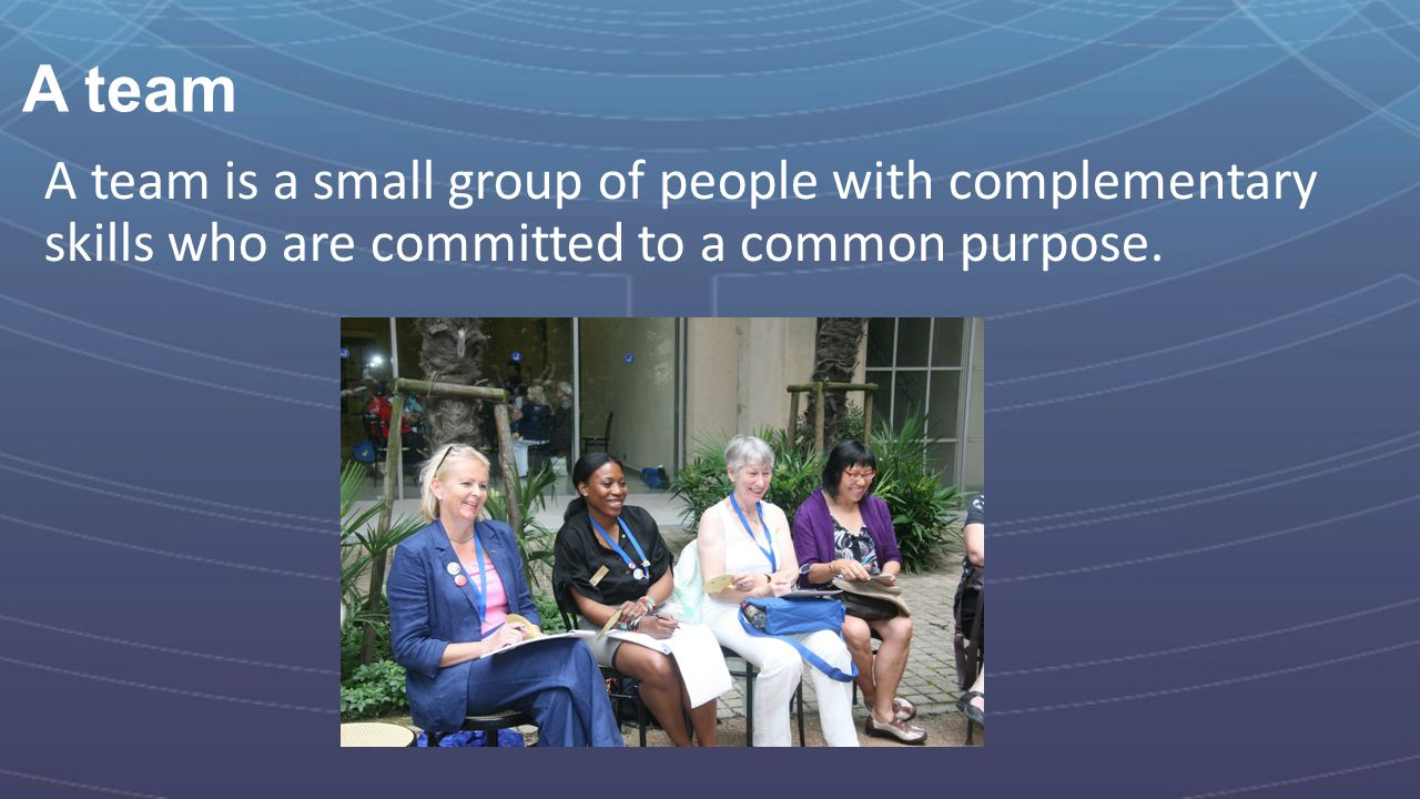 A team A team is a small group of people with complementary skills who are committed to a common purpose.