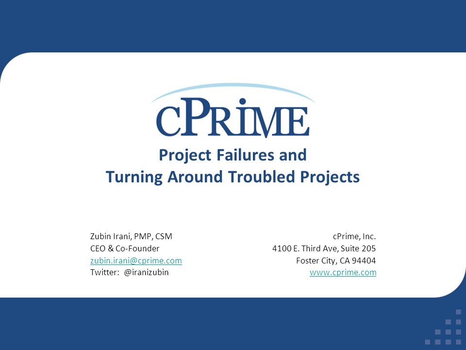 Project Failures and Turning Around Troubled Projects