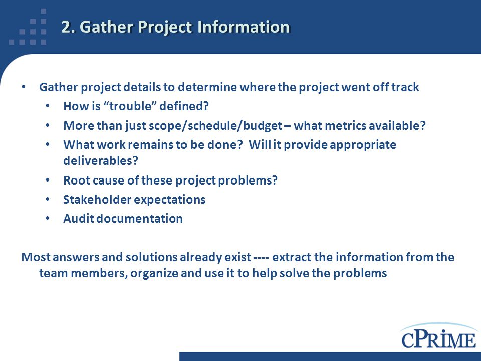 2. Gather Project Information