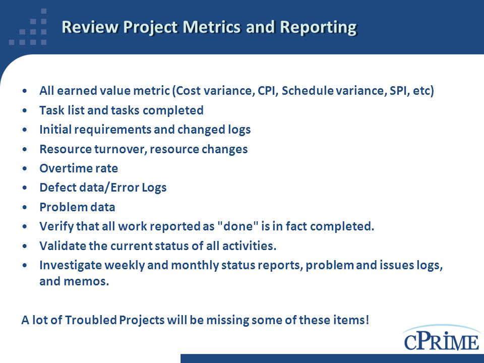 Review Project Metrics and Reporting