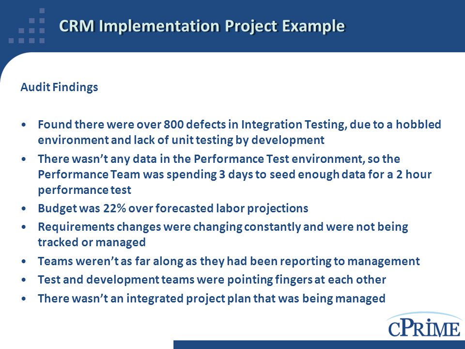 CRM Implementation Project Example