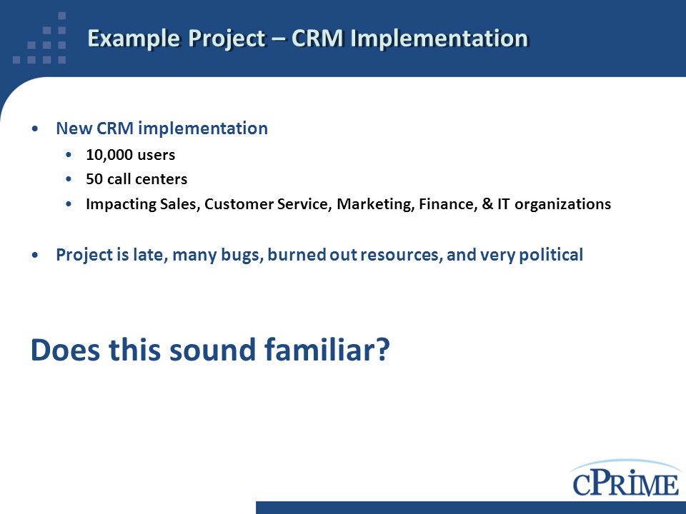 Example Project – CRM Implementation