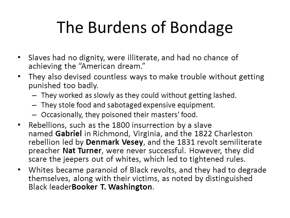 The Burdens of Bondage Slaves had no dignity, were illiterate, and had no chance of achieving the American dream.