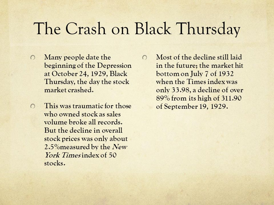 The Crash on Black Thursday