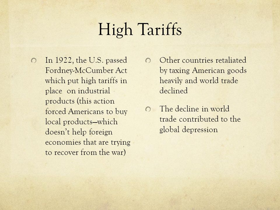 High Tariffs