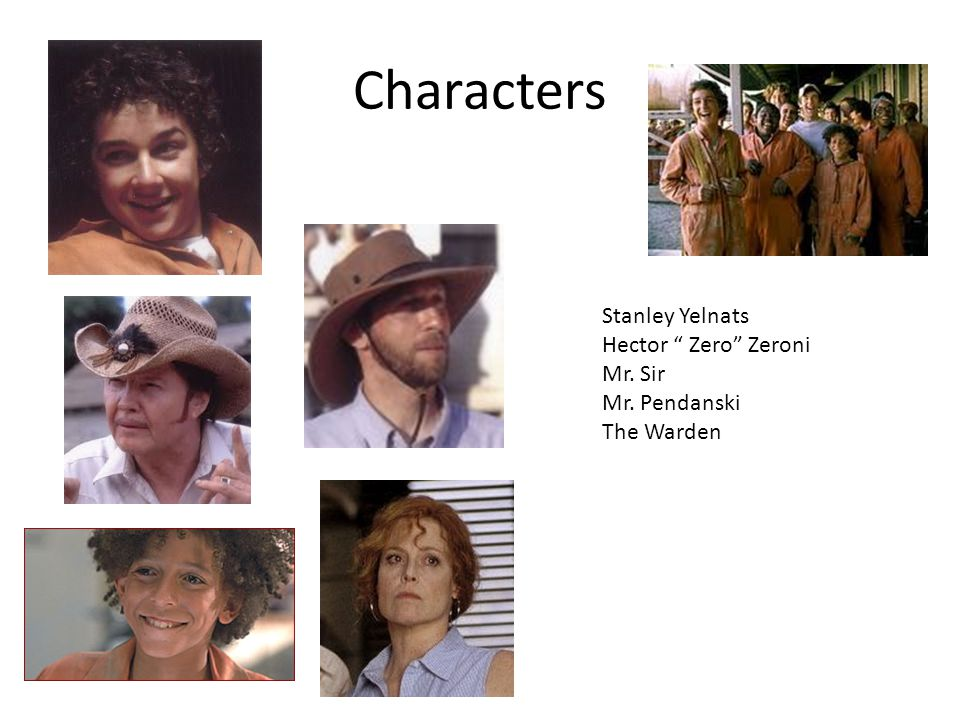 Characters Stanley Yelnats Hector Zero Zeroni Mr. Sir Mr. Pendanski