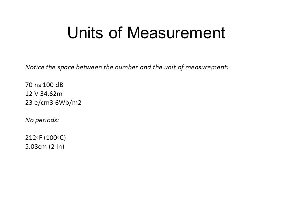 Units of Measurement Notice the space between the number and the unit of measurement: 70 ns 100 dB.
