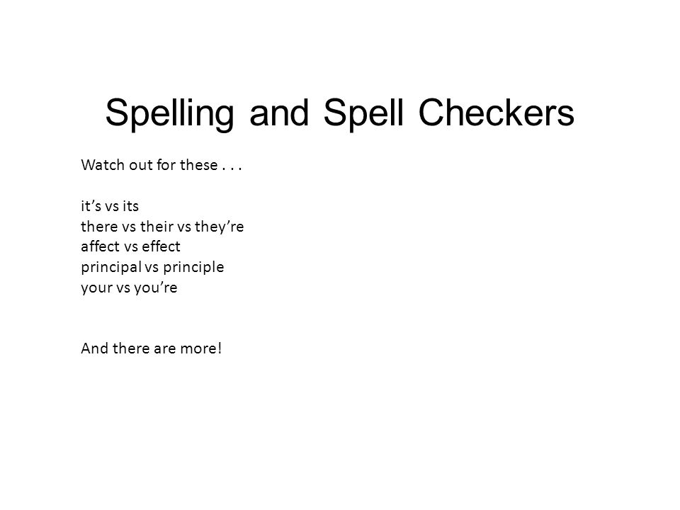 Spelling and Spell Checkers