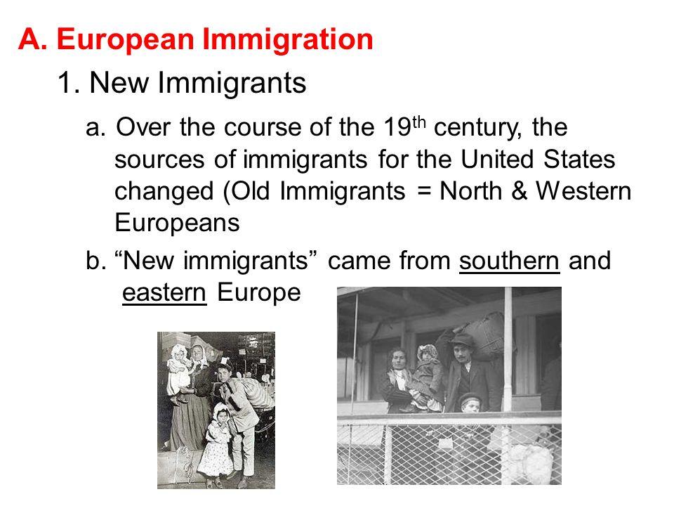European Immigration 1. New Immigrants