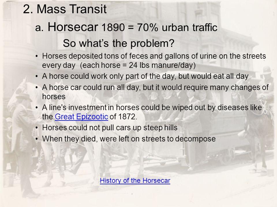 a. Horsecar 1890 = 70% urban traffic