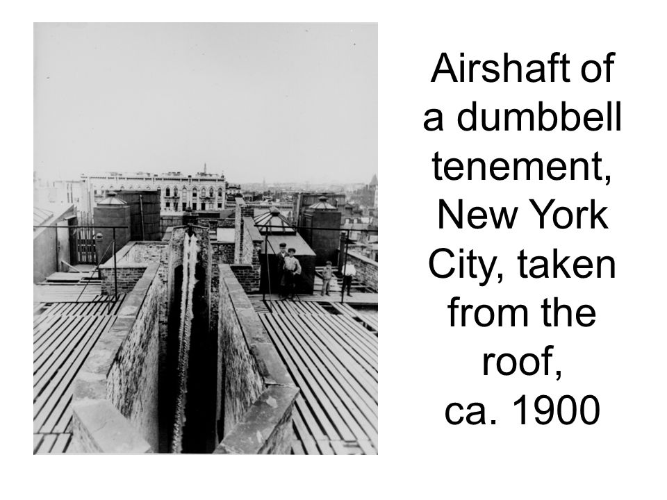 Airshaft of a dumbbell tenement, New York City, taken from the roof, ca. 1900