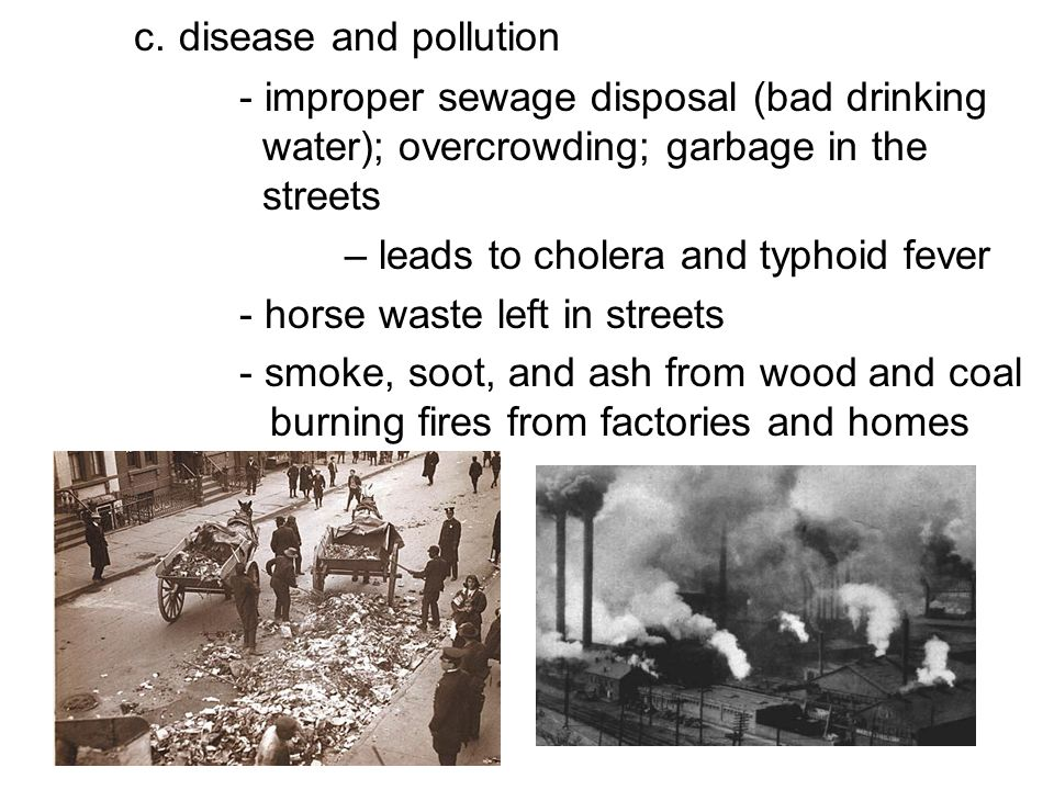 c. disease and pollution