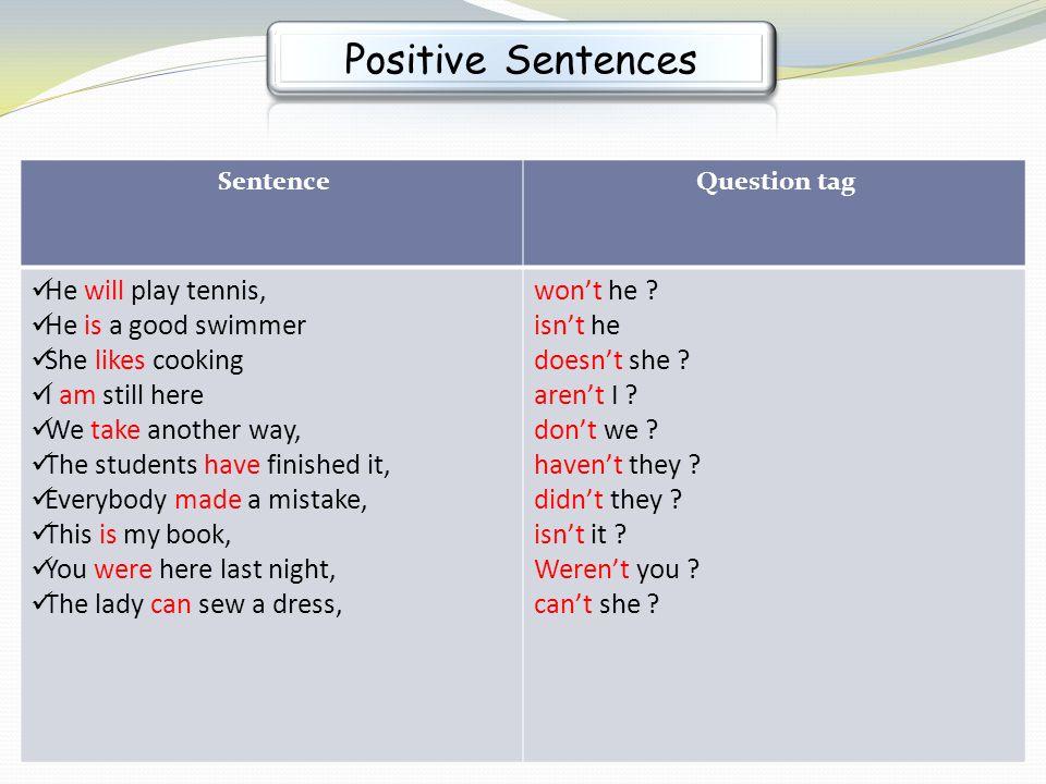 Positive Sentences won't he isn't he doesn't she aren't I