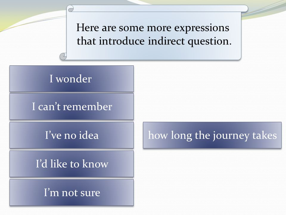 Here are some more expressions that introduce indirect question.