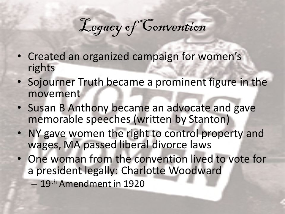 Legacy of Convention Created an organized campaign for women's rights