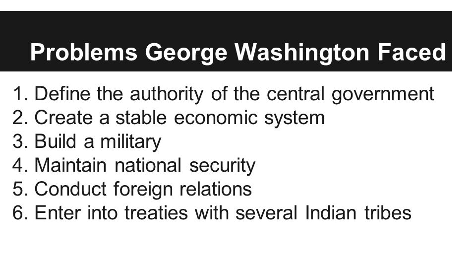Problems George Washington Faced