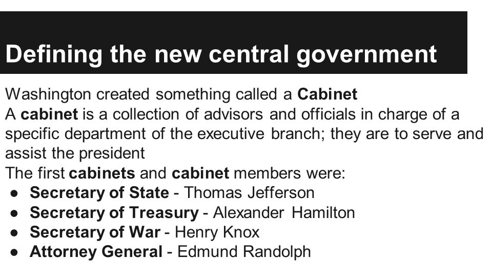 Defining the new central government