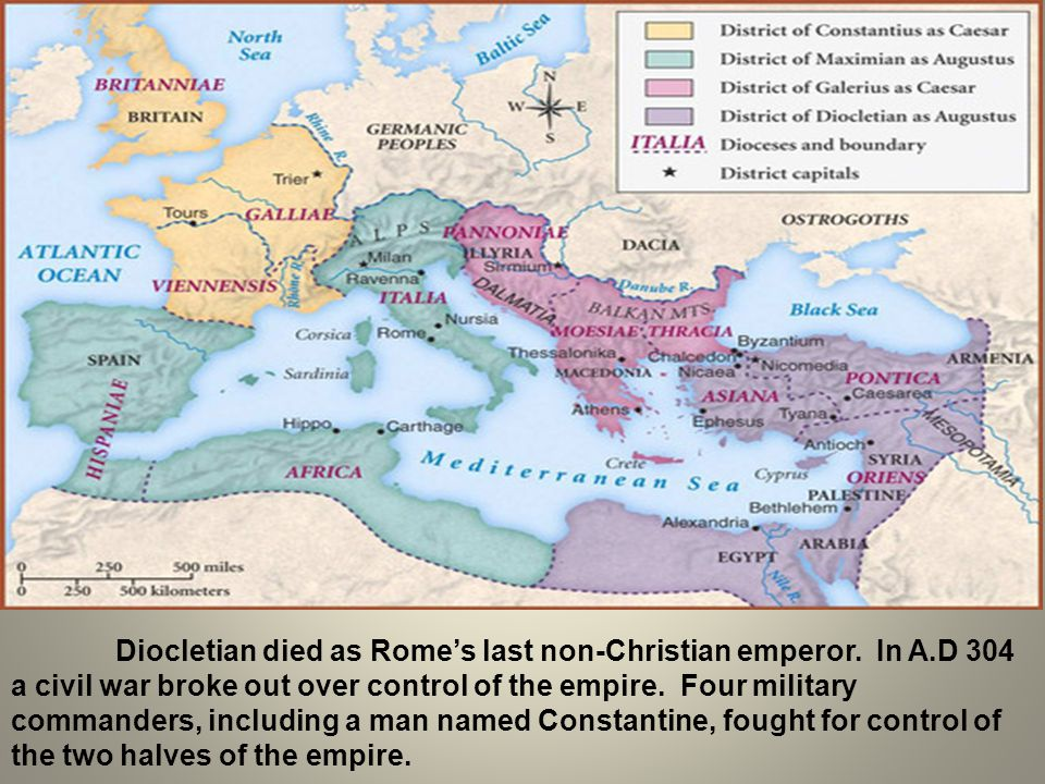 Diocletian died as Rome's last non-Christian emperor. In A