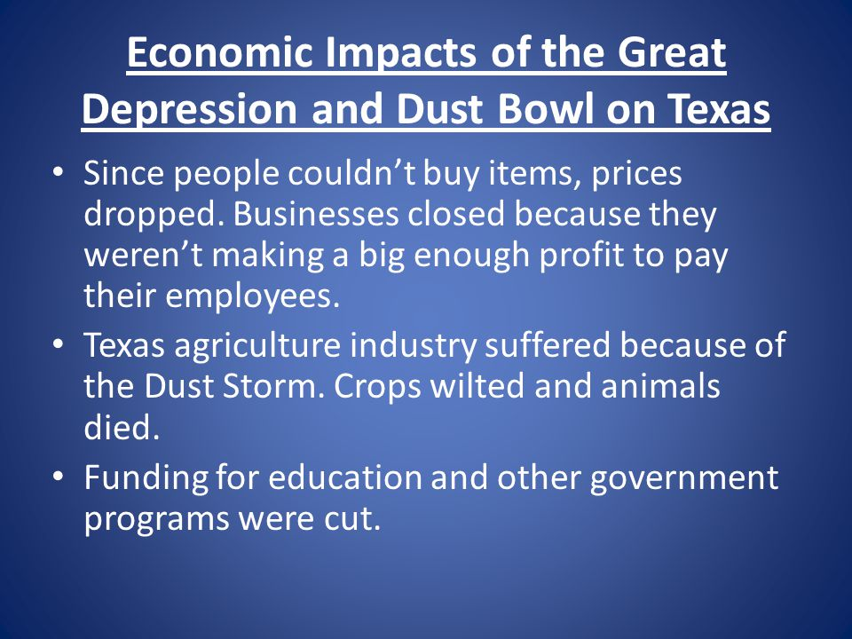Economic Impacts of the Great Depression and Dust Bowl on Texas