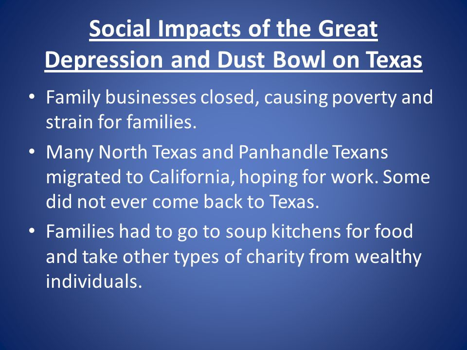 Social Impacts of the Great Depression and Dust Bowl on Texas