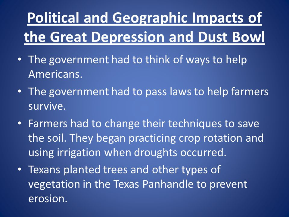 Political and Geographic Impacts of the Great Depression and Dust Bowl
