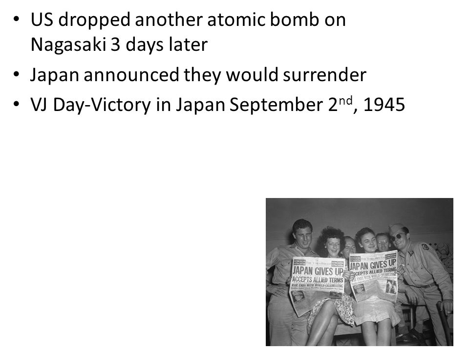 US dropped another atomic bomb on Nagasaki 3 days later
