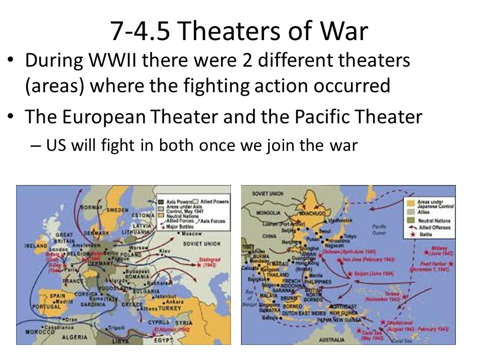 7-4.5 Theaters of War During WWII there were 2 different theaters (areas) where the fighting action occurred.