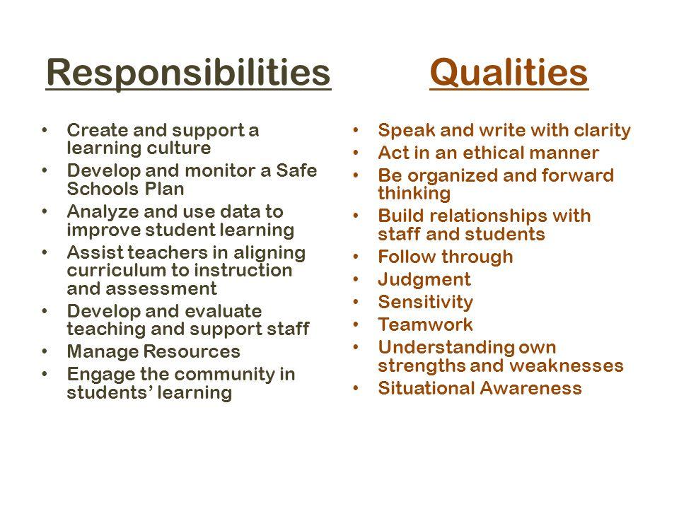 Responsibilities Qualities