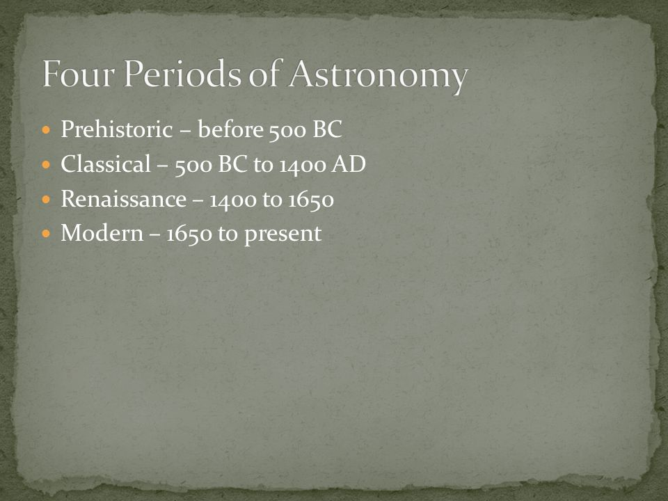 Four Periods of Astronomy