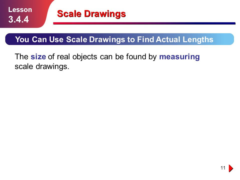 Scale Drawings 3.4.4 You Can Use Scale Drawings to Find Actual Lengths