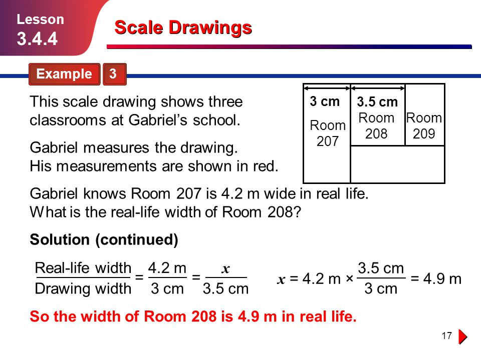 Lesson 3.4.4. Scale Drawings. Example 3. This scale drawing shows three classrooms at Gabriel's school.
