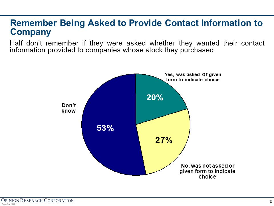 Decision on Whether to Provide Contact Information Those who were asked their choice overwhelmingly opted to provide their contact information.