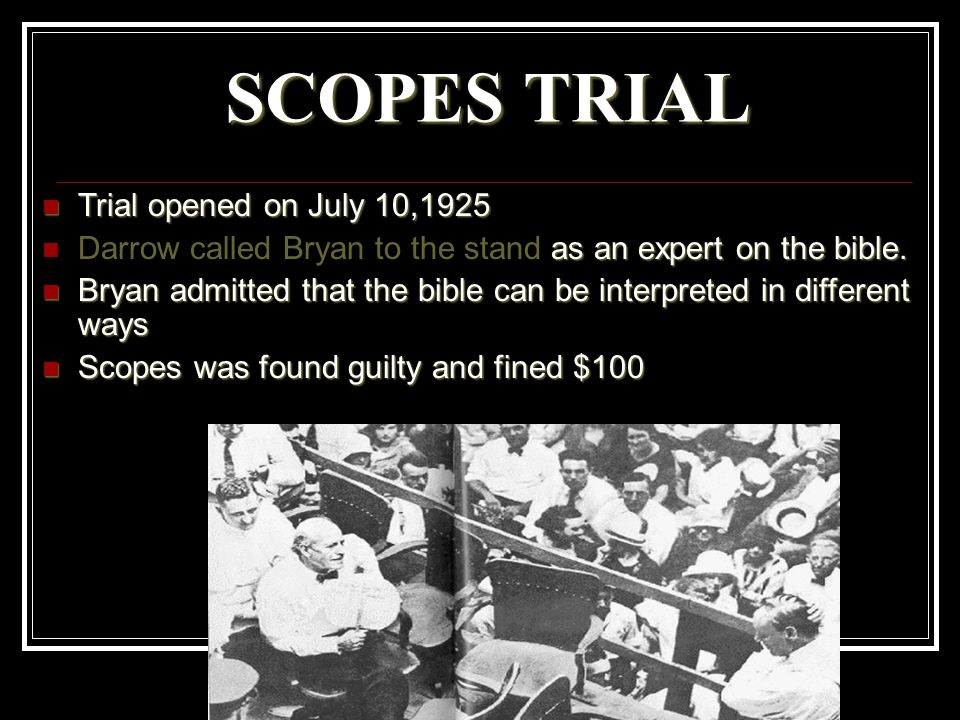 SCOPES TRIAL Trial opened on July 10,1925